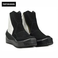 Wholesale korean zipper boots - Korean Style Winter New Fashion Brand Top Quality Genuine Leather Mens Boots Male Shoes Zipper Round Toe Footwear Vintage Black