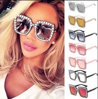 Wholesale Frames Crystal - Luxury Brand Big Crystal Sun Glasses Square Women Oversized Sunglasses Retro Rhinestone Square Frame Bling Sunglasses LJJK994