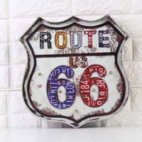 Wholesale Lighted Poster Sign - 2 Options Embossed Badge Design Creative LED Billboard Light Decors USA Route 66 Vintage Tin Sign Bar Pub Home Wall Decor Metal Art Poster
