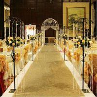 alfombra enrollable al por mayor-1.2 m de ancho x 10 m / rollo brillante lentejuelas de oro Pearlescent Wedding Carpet moda pasillo corredor T estación alfombra para decoración de fiesta suministros