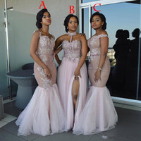 10b386b7c1e Mixed Style Long Bridesmaid Dresses 2018 Floor Length Appliques Sash long  Prom Dress Lace Nigerian formal Maid of Honor Gowns plus size