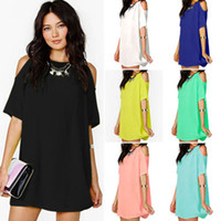 Wholesale white cold shoulder dress - Women Casual Summer Cold Shoulder Chiffon Shirt Bodycon Loose Mini Dress 8 Colour Select Size (S-3XL)