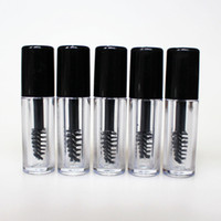 Wholesale Empty Eyelashes Tube Mascara - 0.8ml Mini Clear Empty Mascara Tube Eyelash Cream Vial Liquid Bottle Sample Cosmetic Container with Leakproof Inner Black Cap Free Shipping