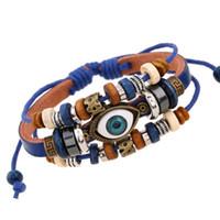 braclet perles charmes achat en gros de-Mauvais Œil Vintage Multi-couche En Cuir Bracelet À Charme Bracelet Bracelet Perle Réglable Braclet Bijoux 7 Style DHL Cadeau De Noël