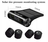 herramienta de sistema de monitoreo de presión de neumáticos al por mayor-TPMS Sistema de Monitoreo de Presión de Neumáticos de Coche Pantalla de Energía Solar 4 Sensores Externos Sistema de Alarma Auto Herramienta de Diagnóstico