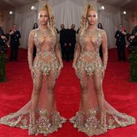 encontrar bolas venda por atacado-Sexy Sheer Beaded Prom Dress Beyonce Met Bola Red Carpet Dresses Ilusão Mangas Compridas Vestidos de Festa Formal Vestidos de Festa
