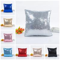 Wholesale satin pillowcases wholesale - 40cm Mermaid Sequin Pillow Case Cushion Cover Toss Pillowcase Hidden Zipper Closure Square Plain Satin Sofa Accessories DDA690