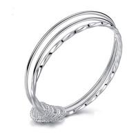 Wholesale wholesale sterling silver jewellery - 925 Sterling Silver Jewelry Women Silver Plated Three Circles Charm Bracelets Cuff Bangle Bracelet Fashion Jewellery