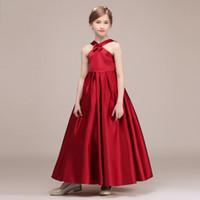 d68c247dd6 vestido de color carmesí al por mayor-Vestidos del desfile de las muchachas  del satén