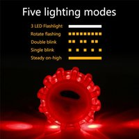 Wholesale Red Flashing Beacon Light - LED Road Flares Red Safety Flashlight Magnet Flashing Warning Lights Roadside Emergency Disc Beacon For Car Truck Boat Q0332