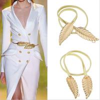cinturones elásticos de metal dorado al por mayor-Diseño de la hoja de la mujer Cinturón de metal Hojas Cierre de corchete Cintura elástica delantera Cinturón de la cintura elástico de plata Hojas Cinturón de cadena