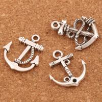 colgante pulsera de ancla al por mayor-Anclas colgantes de los encantos para la joyería 100 unids / lote 3 estilos de artesanía de plata tibetana diy aptos pulseras collar LM56