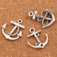 çapa bilezik kolye toptan satış-Çapalar Charms Kolye Takı Için 100 adet / grup 3 stilleri Tibet Gümüş El Sanatları DIY Fit Küpe Bilezikler Kolye LM56
