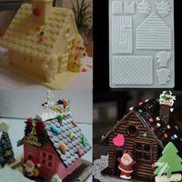 литейный цех оптовых-3D DIY Christmas Cake House Fondant Chocolate Mould Xmas Cake Cutter Mold Decor Practical Portable Mold Tool