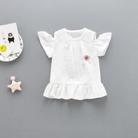 altmodische sommerkleider groihandel-Baby-Sommer-trägerlose Shortsleeved Rock 0-3 Jahr altes Mädchen Mode Lotus-Blatt-Rock-Kleid V 001