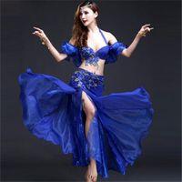 conjuntos de roupas de contas venda por atacado-Novo Desempenho Estágio Oriental Dança Do Ventre Roupas 3 Peça Set (BraBeltSkirt) Handmade Frisada Dança Do Ventre Vestido Azul / Vermelho / Rosa