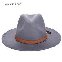 kadın yünü keçe klişe şapkaları toptan satış-Sonbahar Kış Güneş Şapka Kadın Erkek Fedora Şapka Klasik Geniş Ağız Disket Cloche Cap Chapeau İmitasyon Yün Kap Hissettim