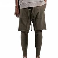 Wholesale baggy jogger trousers resale online - Fashon Fitness Long Pants Men Casual Sweatpants Baggy Jogger Trousers Fashion Fitted Bottoms Streetwear Hiphop New