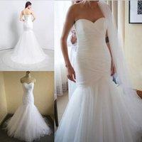 robes mariées achat en gros de-Nouvelle Arrivée Tulle Robes De Mariée Sirène Dentelle Vers Le Haut Marier Robes Robes De Mariée Chapelle Train Robes De Mariage