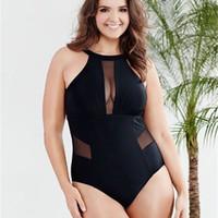 kafesli yüzme giyim toptan satış-Yüzmek Aşınma Kadınlar 2018 Sıcak Moda Artı Boyutu Mayo Tek Parça Mayo Kadınlar Siyah Örgü Yüzme Mayo Lady Ucuz Seksi Beachwear