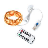 hausverkabelung fernbedienung großhandel-33ft 100LED Kupferdraht Lichterketten Fairy String Lichter 8 Modi LED Lichterketten USB Powered mit Fernbedienung für Hochzeit Home