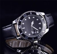 deri logo izle toptan satış-Logo relogio masculino mens saatler Var Lüks bilek moda tasarımcısı siyah arama takvim deri çelik katlanır toka usta erkek saat