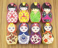 Wholesale russian doll sets resale online - 100 sets Russian Doll Manicure Pedicure Set Nail Clippers Scissors Grooming Tools Tweezers Wedding Favor Gift SN1114