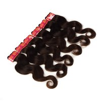 hair color end weave Canada - 100% Brazilian Human Hair Weaves Body Wave Hair Extensions Color 2# Healthy End 6 Bundles lot 50g Piece 12-28 Inches Can Be Curled