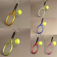 Wholesale Mini Tennis Keychain - Creative Mini Tennis Racket Keychain Key Ring Cute Sport Charm Tennis Ball Keychains Car Bag Pendant Keyring Gift 6 Colors Free DHL G256Q