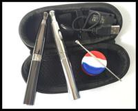 kit de iniciação dupla evod venda por atacado-E cigarro vaporizador de cera dupla bobinas de quartzo kit starter bateria recarregável 650 mah ego / evod cera vaporizador queimador de óleo de cera