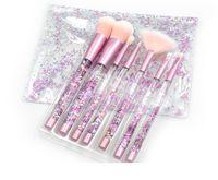 make-up-kit lippenstift schatten großhandel-DHL-Make-up Pinsel 7er Set Kits Makeup Tools Zubehör Erröten Pinsel Lidschatten Lippenstift Kunsthaar Großhandel