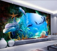 Wholesale cartoon scenery - Custom 3D Photo Wallpaper Scenery For Walls Ocean Seabed Cave Cartoon Dolphin Wall Mural Kids Wall Paper Children's Room Decor