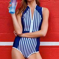 Wholesale Guard Swim - High Neck One Piece Swimsuit Stripe Print Swimwear 2018 Women Push Up Swim Suit Zipper Monokini Rash Guard Bathing Suit