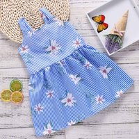 Wholesale suspender braces white - Girls Striped Braces Skirt Adjustable Waist Floral Dresses Blue & White Stripes Girls Outfits for Summer 1-6T