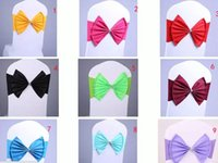 Wholesale Wholesale Chair Bows - Wedding Party Banquet spandex Sash Bows For Chair Cover with jewel new style Hot selling