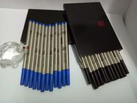ingrosso mb può-Spedizione gratuita 12pcs alta qualità nero / blu MB 710 roller penna refill e può collocazione mista