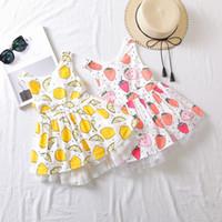 elastische bedruckte bänder großhandel-Baby Mädchen Weste Kleid Bogen Band Verband Elastische Zitrone Orange Erdbeere Gedruckt Zwei Schichten Kuchen Sleeveless Röcke Sommer Prinzessin Outfits