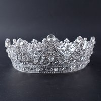 Wholesale tiaras end crowns - European and American high-end bride Crown Alloy diamond round crown headdress wedding dress Accessories Accessories