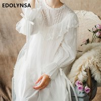 Wholesale ladies victorian dresses - Women Ladies Victorian Style Long Sleeve Vintage White Solid Lace Nightgown Plus Size Sleepwear Lingerie Dress Plus Size T26