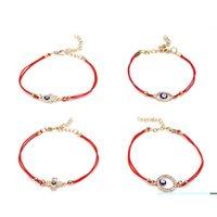 bracelet de mauvais oeil pour les hommes achat en gros de-EVIL EYE Simple Bleu Evil Eye Charm Bracelet Femme Rouge Double Corde Croix Hamsa Main Lucky Bracelets pour Femmes Hommes Bracelet