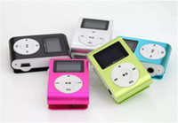 Wholesale cable radios - Colorful Mini Clip MP3 Player with LCD Screen & FM support Micro SD TF Card + Earphone +USB Cable withGift box