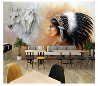 horse murals for bedrooms 2018 - Custom 3D Photo Wallpaper Large Mural Retro White Horse Wall Mural Sofa Bedroom TV Backdrop 3D Stereo Mural Wallpaper For Walls