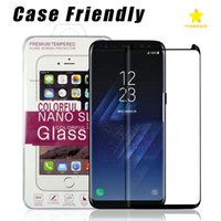 Wholesale Front Box - Case Friendly Scaled Down 3D Curved Tempered Glass For Samsung Galaxy S8 Samsung S8 Plus Screen Protector With Very Good Retail Box