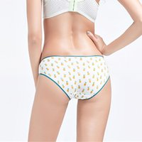 Wholesale Young Girls Bikinis - ZOCBBT 4 Pieces Young Girl Beautiful Panties Lace Underclothes Cartoon Briefs Pineapple Fruits Panty Underwear Blue Japan Korea