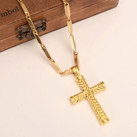 Wholesale 18 k yellow gold for sale - Group buy MEN S Women cross k Solid gold GF charms lines pendant necklace fashion christian jewelry factory wholesalecrucifix god gift