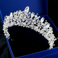 Wholesale Princess Party Tiaras - Luxury Bridal Crown Rhinestone Crystals Royal Wedding Queen Big Crowns Princess Crystal Baroque Birthday Party Tiaras For Bride Sweet 16