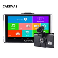 Wholesale car pc wifi - CARRVAS 7 Inch Car GPS Navigation Android 4.4.2 MTK8127 WIFI FM Bluetooth HD 1080P Car DVR Recorder Tablet PC 8G Flash