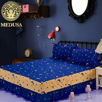 Wholesale Pink Crib Skirts - Wholesale-Medusa 3pcs moon and stars sheet set bed skirt pillow shams double full twin bed linen set aqua blue grass