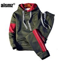 ingrosso abbigliamento sportivo di qualità-Aismz Brand Tuta da uomo Qualità Primavera Uomo Sporting Hooded Hoodie + Pants Due pezzi Sweat Set Jogger Track Suit per i vestiti