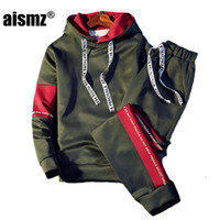 спортивный костюм с капюшоном с капюшоном оптовых-Aismz  Tracksuit Men Quality Spring Men Sporting Hooded Hoodie+Pants Two Piece Sweat Set Jogger Track Suit For Clothes